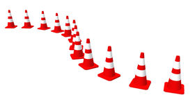 3D cones red white 01. A row of 3D cones on white background stock illustration