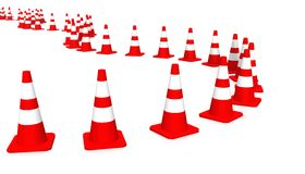 3D cones red white 03. A row of 3D cones on white background stock illustration