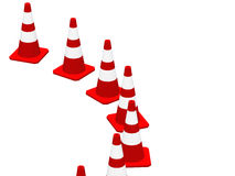 3D cones red white 04 Royalty Free Stock Photography