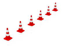 3D cones red white 11 Royalty Free Stock Photos