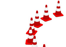 3D cones red white 13. A row of 3D cones on white background stock illustration