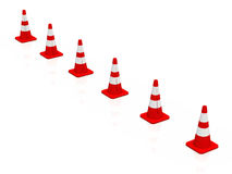 3D cones red white 14. A row of 3D cones on white background royalty free illustration