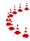 3D cones red white 16. A row of 3D cones on white background vector illustration