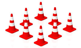 3D cones red white square 01 Stock Image