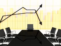 3d conference room with financial charts. 3d animated conference room with charts on the background Stock Photo