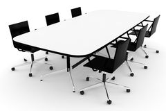 3d conference table, on white Royalty Free Stock Image