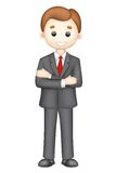 3d Confident Business Man in Vector. Illustration of confident 3d business man in vector standining with folded hand Stock Images