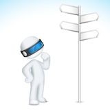 3d Confused Man in Vector. Illustration of 3d confused man in  fully scalable standing near direction board Stock Photography