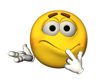 3D Confused Smiley Emoticon. 3D yellow smiley face emoticaon looking confused Royalty Free Stock Image