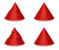 3d conical shape 2 or 3 levels. 3d conical shape sliced, red pyramid 2 (two) or 3 (three) levels, white background and reflection Royalty Free Stock Photo