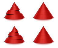 3d conical shape 4 or 5 levels. 3d conical shape sliced, red pyramid 4 (four) or 5 (five) levels, white background and reflection Stock Photos