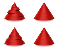 3d conical shape 6 or 7 levels. 3d conical shape sliced, red pyramid 6 (six)  or 7 (seven) levels, white background and reflection Stock Photos