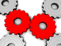 3D Connecting Gears Royalty Free Stock Images