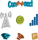 3D connectivity icon set. A set of icons for internet connection and signal Royalty Free Stock Photography