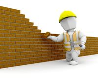 3D Construction worker. Building a wall Royalty Free Stock Images
