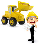 3D Construction worker with a bulldozer Royalty Free Stock Images