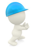 3D construction worker pushing something Stock Photos