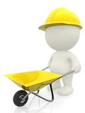 3D construction worker with wheelbarrow Royalty Free Stock Images