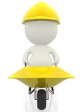 3D construction worker with wheelbarrow Stock Images