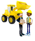 3D Construction workers Stock Photo