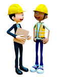 3D construction workers talking Stock Photos
