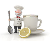 The 3D cook with a cup. Royalty Free Stock Photos