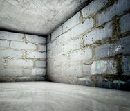 3d corner, concrete brick interior Royalty Free Stock Images