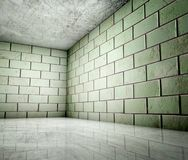 3d corner of grunge tiles interior Royalty Free Stock Photography