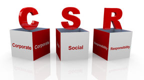 3d corporate social responsibility boxes. 3d open text cubes of buzzword csr - corporate social responsibility Stock Photos