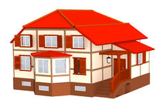 3d cottage with a roof of red color Royalty Free Stock Images