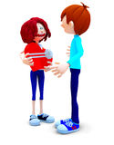 3D couple with a gift Stock Images