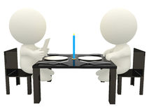 3D couple having dinner Stock Photo