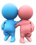 3D couple hugging Stock Images