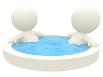 3D couple in a jacuzzi Royalty Free Stock Image