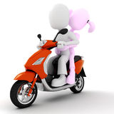3d couple on motorcycle Royalty Free Stock Image