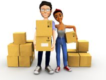 3D couple moving Royalty Free Stock Photography