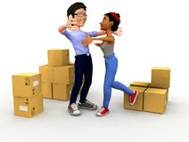 3D couple moving Stock Images