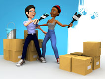 3D couple painting Royalty Free Stock Image