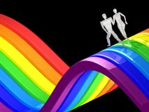 3D couple running rainbow Royalty Free Stock Images