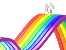 3D couple running rainbow Stock Images