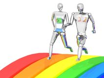 3D couple running rainbow Stock Image