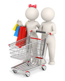 3d couple with shopping cart Royalty Free Stock Images