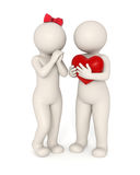 3d couples - Big heart. 3d guy gives big heart to his girlfriend - Valentine's day concept - Isolated Royalty Free Stock Images