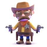 3d Cowboy draws both pistols Stock Photos