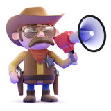 3d Cowboy with megaphone Stock Image