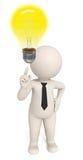 3d creative business man got an idea - bulb. 3d business man pointing to a light bulb to pay attention - he's got an idea - DOF Royalty Free Stock Photography