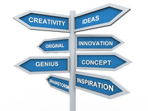 3d creativity signpost. 3d render of creativity signpost Royalty Free Stock Photos