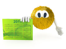 3d creature with calendar of 2011. Render Royalty Free Stock Photo