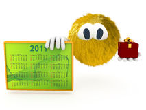 3d creature with calendar of 2011. Render Stock Photos