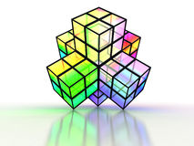 3D crossed colorful structure made of transparent. Cubes with reflection on white background Stock Photography